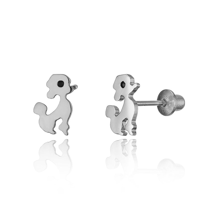 925 Sterling Silver Rhodium Plated Poodle Screwback Baby Girls Earrings