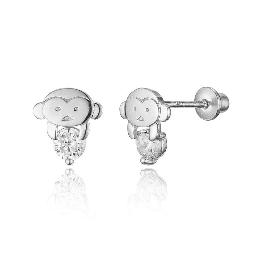 925 Sterling Silver Rhodium Plated Monkey CZ Screwback Baby Girls Earrings