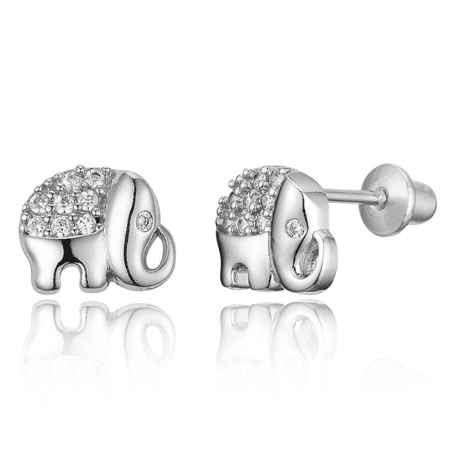 925 Sterling Silver Rhodium Plated Elephant CZ Screwback Baby Girls Earrings