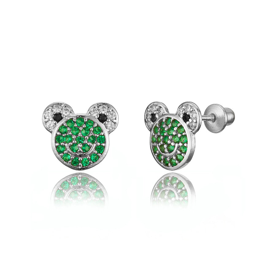 925 Sterling Silver Rhodium Plated Frog CZ Screwback Baby Girls Earrings