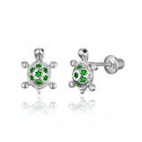 925 Sterling Silver Rhodium Plated Turtle CZ Screwback Baby Girls Earrings