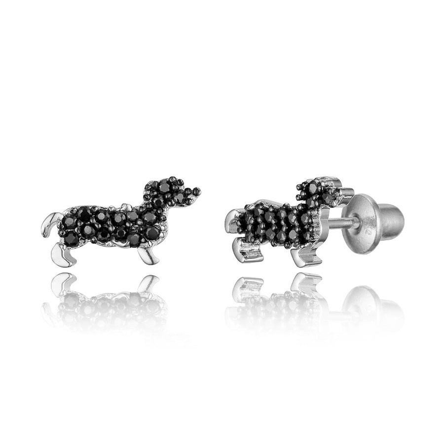 925 Sterling Silver Rhodium Plated Puppy CZ Screwback Baby Girls Earrings