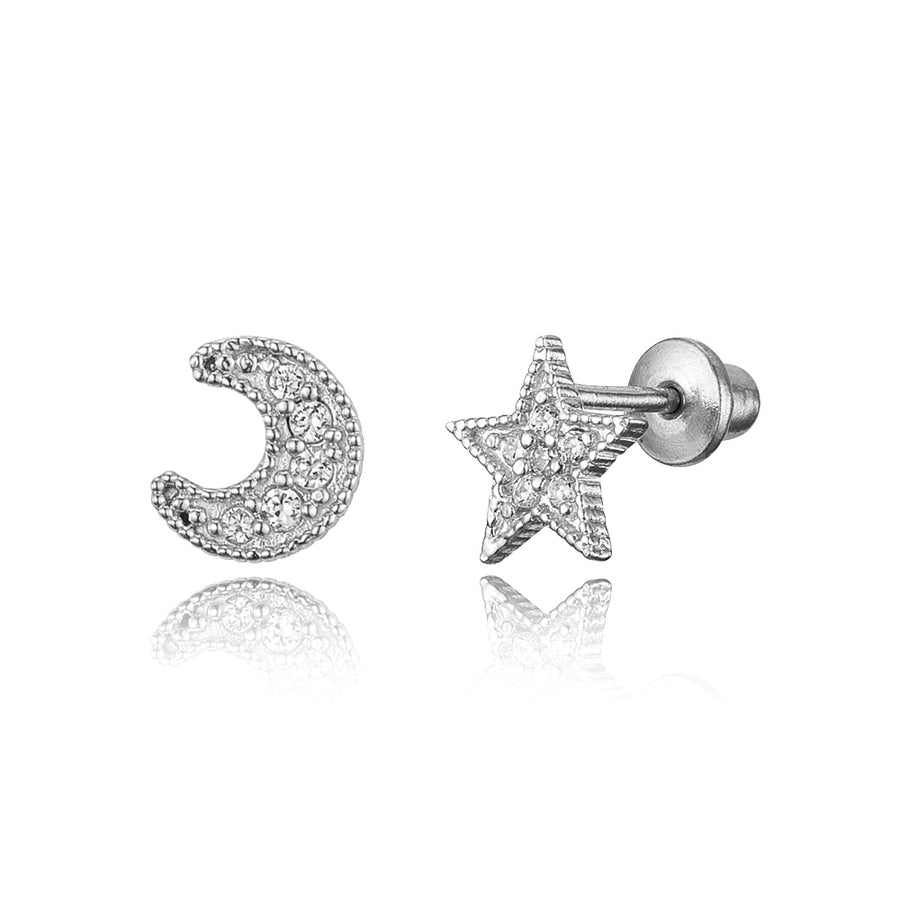925 Sterling Silver Rhodium Plated Moon and Star CZ Screwback Baby Girl Earrings