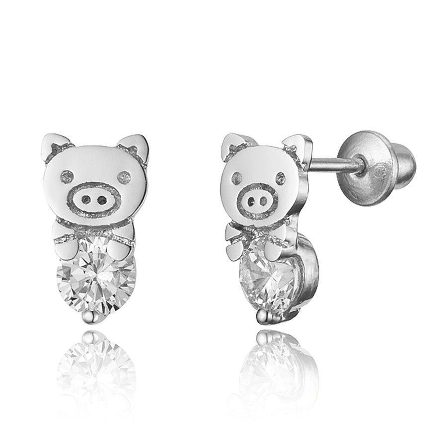 925 Sterling Silver Rhodium Plated Pig CZ Screwback Baby Girls Earrings