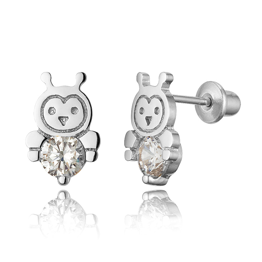 925 Sterling Silver Rhodium Plated Bumble Bee CZ Screwback Baby Girls Earrings