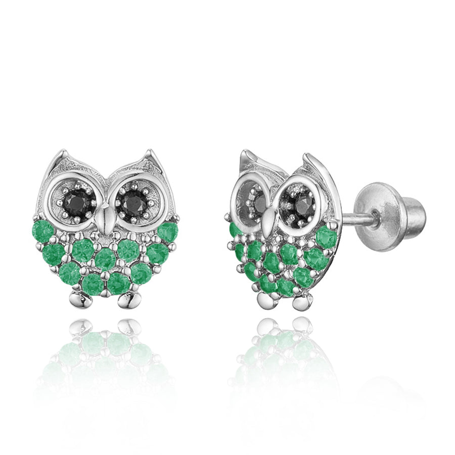 925 Sterling Silver Rhodium Plated Green Owl CZ Screwback Baby Girls Earrings