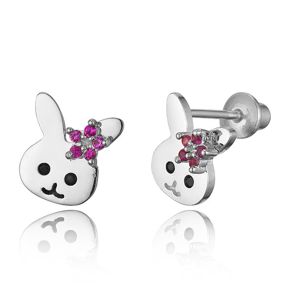 925 Sterling Silver Rhodium Plated Rabbit CZ Screwback Baby Girls Earrings