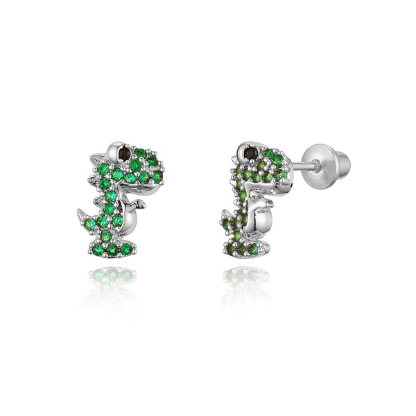 Sterling Silver Rhodium Plated Green Dinosours Screwback Girls Earrings