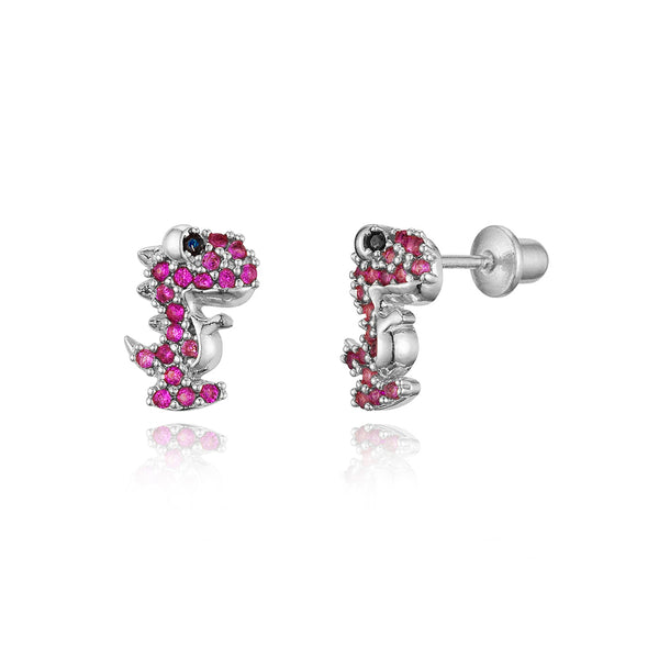 Sterling Silver Rhodium Plated Red Dinosours Screwback Girls Earrings