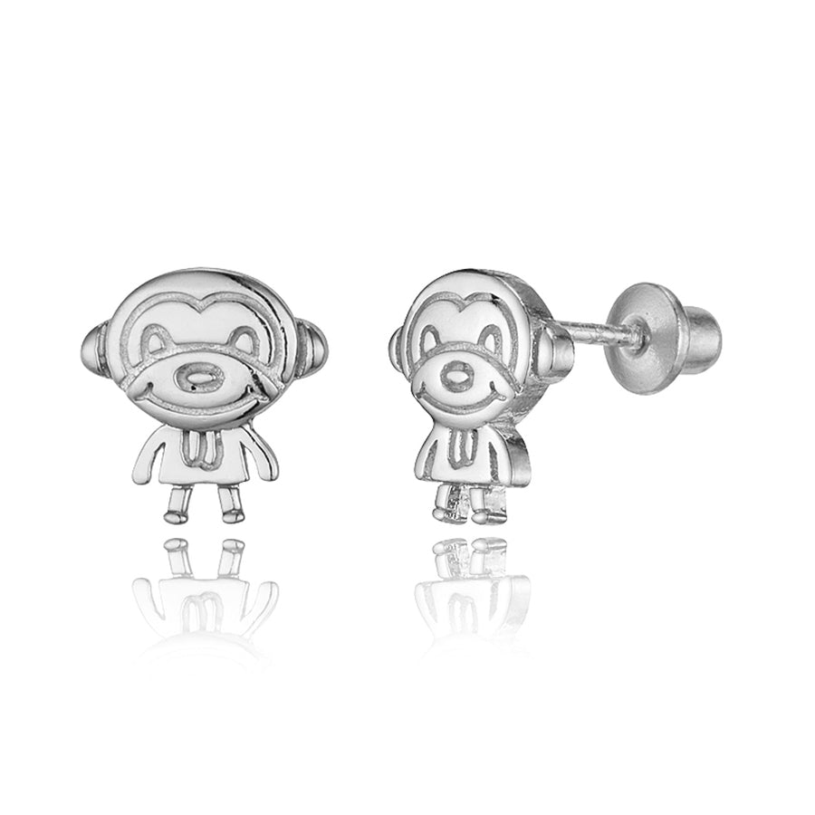 925 Sterling Silver Rhodium Plated Monkey Screwback Baby Girls Earrings
