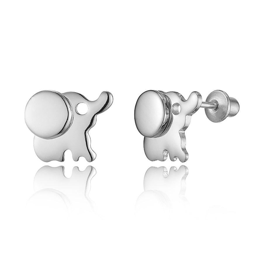 925 Sterling Silver Rhodium Plated Elephant Screwback Baby Girls Earrings