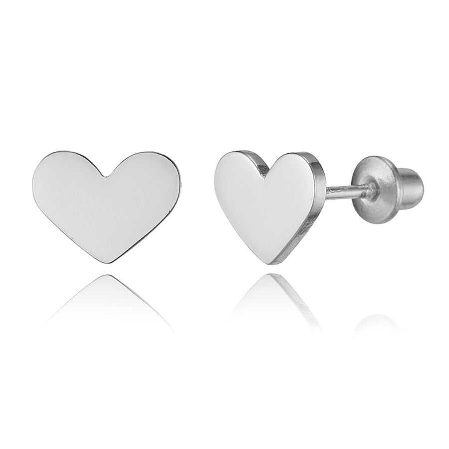 925 Sterling Silver Rhodium Plated Plain Heart Screwback Baby Girls Earrings
