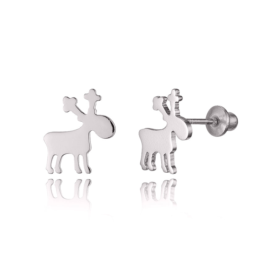 925 Sterling Silver Rhodium Plated Moose Screwback Baby Girls Earrings
