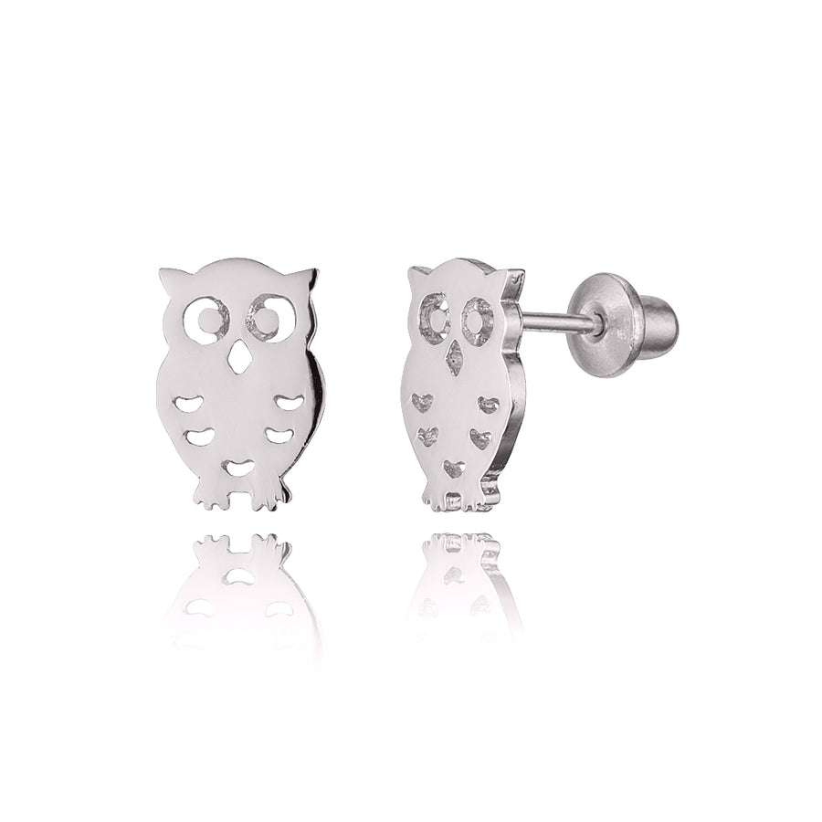 925 Sterling Silver Rhodium Plated Owl Screwback Baby Girls Earrings