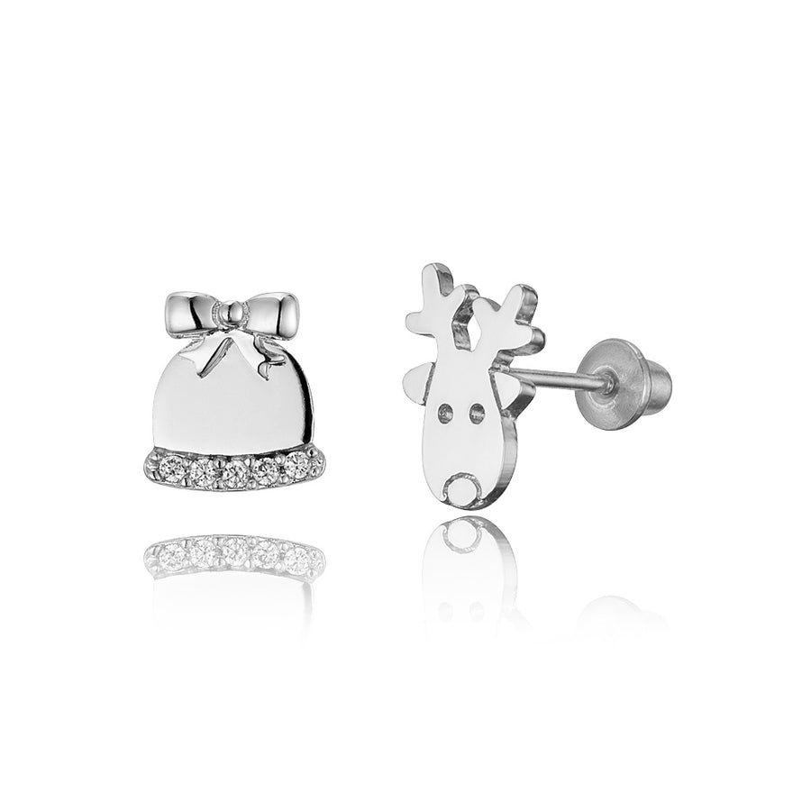 925 Sterling Silver Rhodium Plated Deer and Bell CZ Screwback Baby Girl Earrings