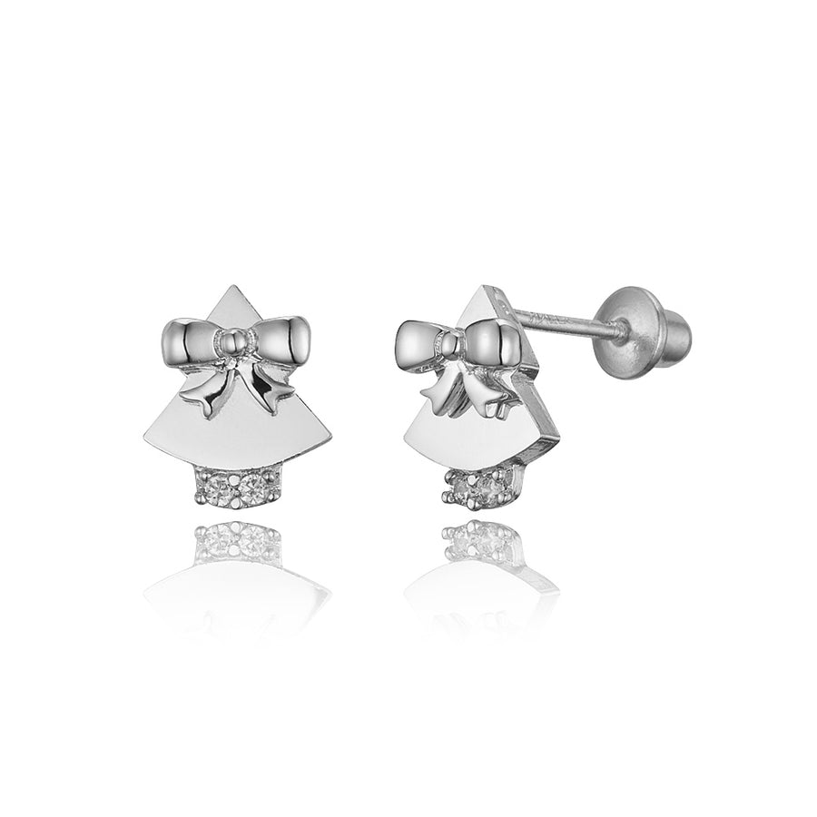 925 Sterling Silver Rhodium Plated Bell CZ Screwback Baby Girls Earrings