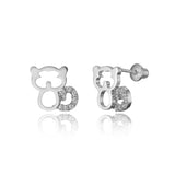 925 Sterling Silver Rhodium Plated Cat Cubic Zirconia Screwback Baby Girls Earrings