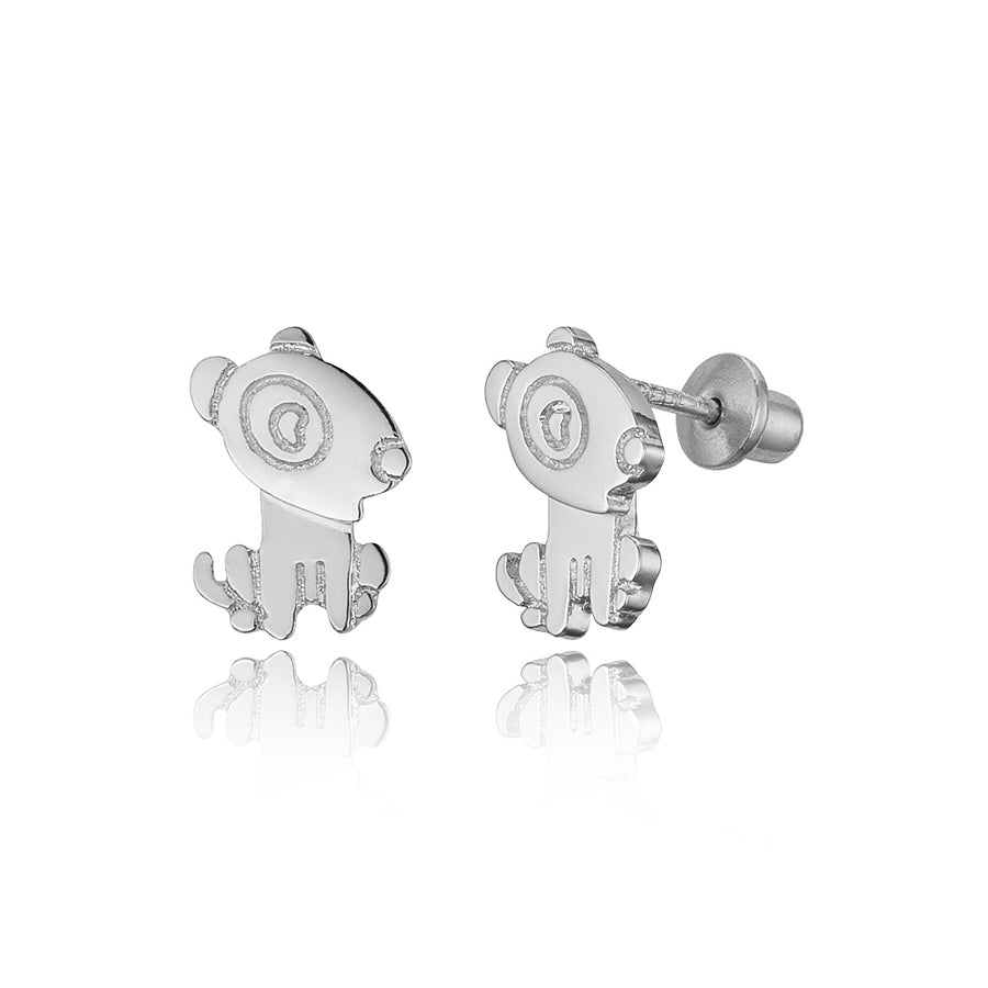 925 Sterling Silver Rhodium Plated Puppy Screwback Baby Girls Earrings