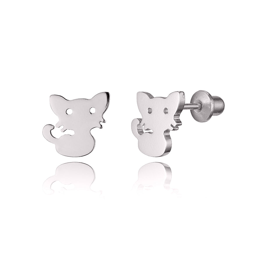 925 Sterling Silver Rhodium Plated Plain Baby Cat Screwback Baby Girls Earrings