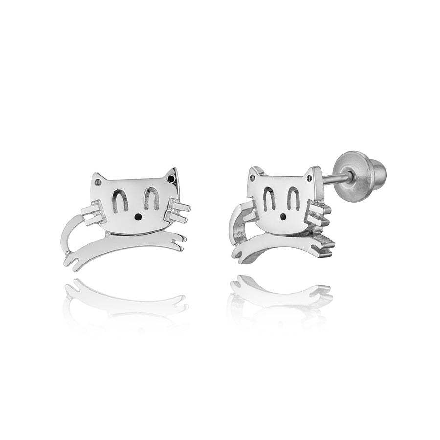 925 Sterling Silver Rhodium Plated Baby Cat Screwback Baby Girls Earrings