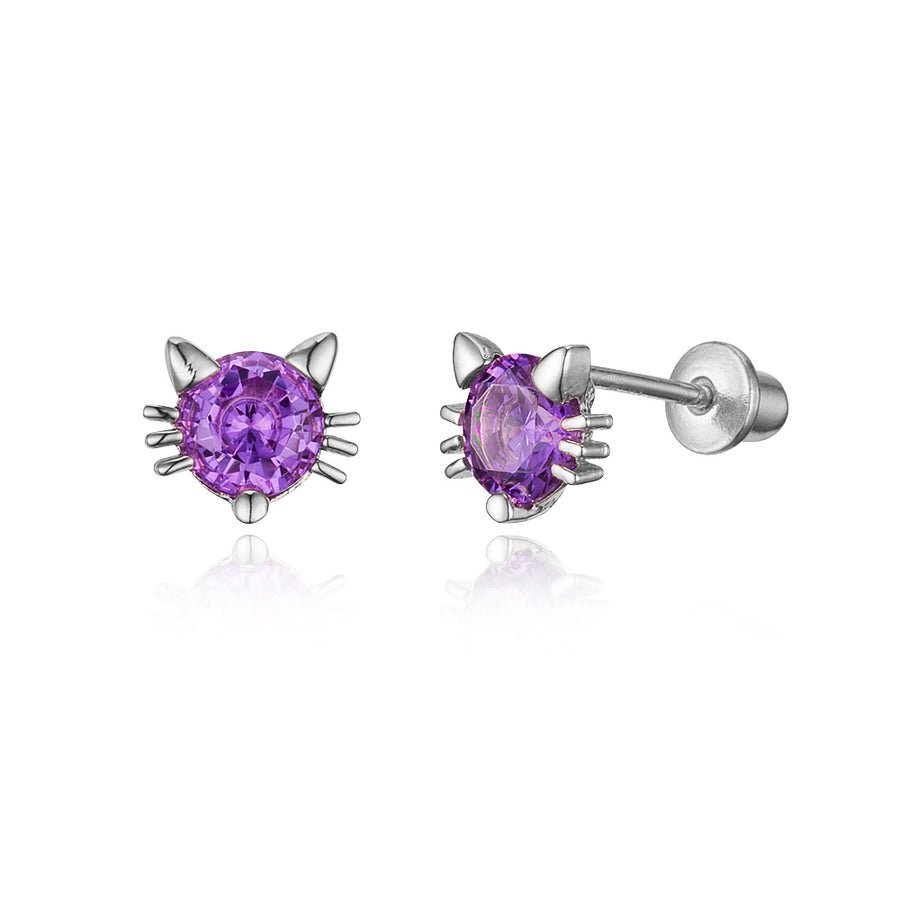 925 Sterling Silver Rhodium Plated Cat CZ Screwback Baby Girls Earrings