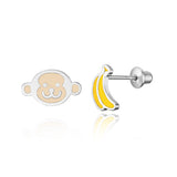 925 Sterling Silver Rhodium Plated Enamel Monkey Banana Screwback Baby Girls Earrings