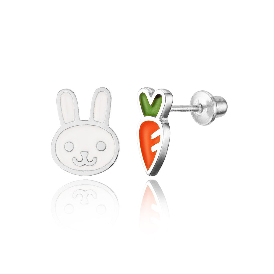 925 Sterling Silver Rhodium Plated Enamel Rabbit Carrot Screwback Girls Earrings