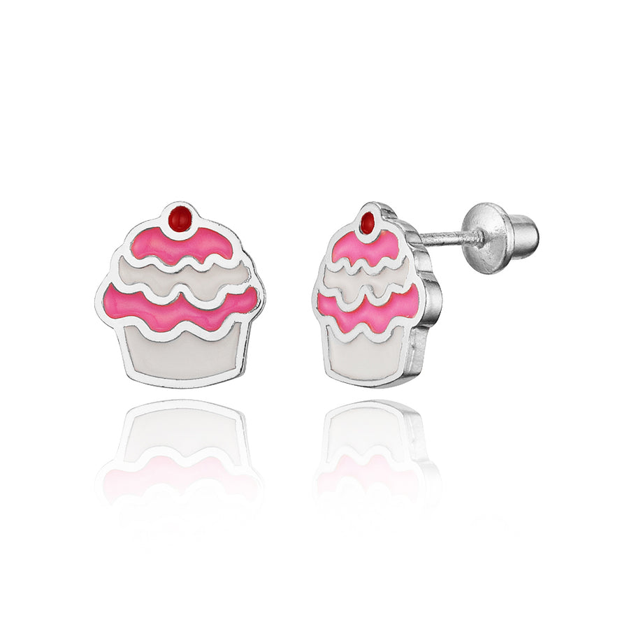 925 Sterling Silver Rhodium Plated Enamel Cupcake Screwback Baby Girls Earrings