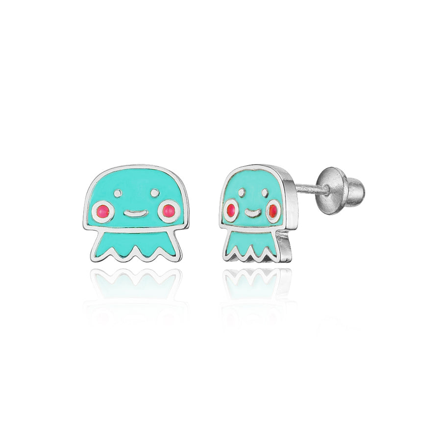 925 Sterling Silver Rhodium Plated Enamel Jellyfish Screwback Baby Girl Earrings