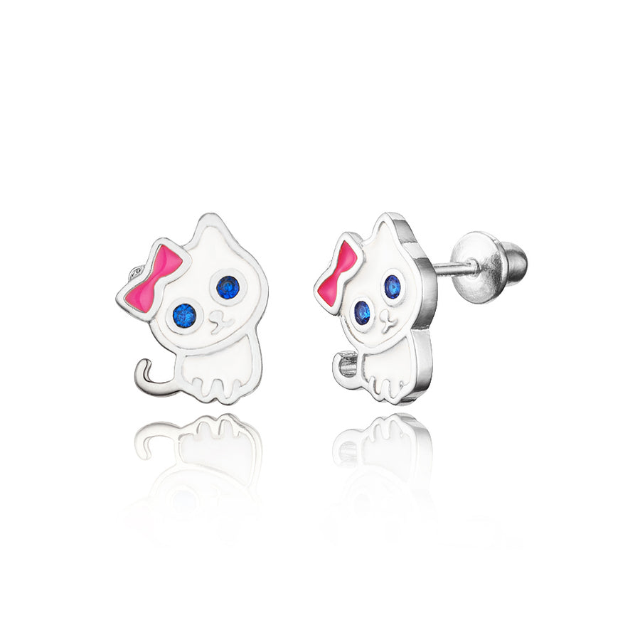 925 Sterling Silver Rhodium Plated Enamel Cat CZ Screwback Baby Girls Earrings