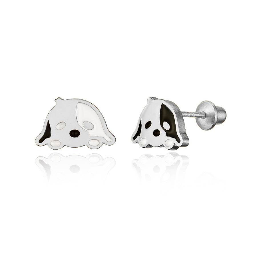 925 Sterling Silver Rhodium Plated Enamel Dog Puppy Screwback Baby Girl Earrings