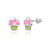 925 Sterling Silver Rhodium Plated Enamel Cupcake CZ Screwback Baby Girl Earring