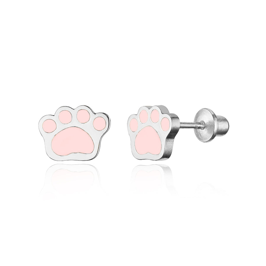 925 Sterling Silver Rhodium Plated Enamel Puppy Paw Screwback Baby Girl Earrings