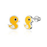 925 Sterling Silver Rhodium Plated Enamel Baby Chick Screwback Baby Girls Earrings