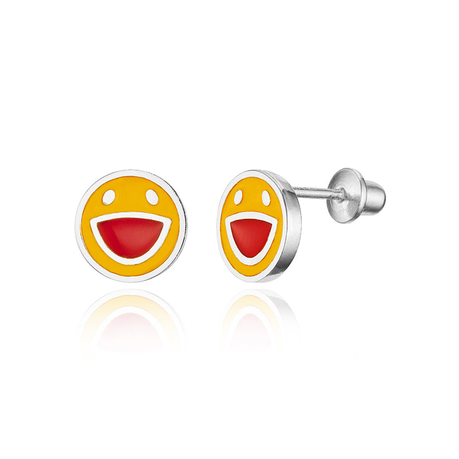 925 Sterling Silver Rhodium Plated Enamel Happy Face Screwback Baby Girl Earring