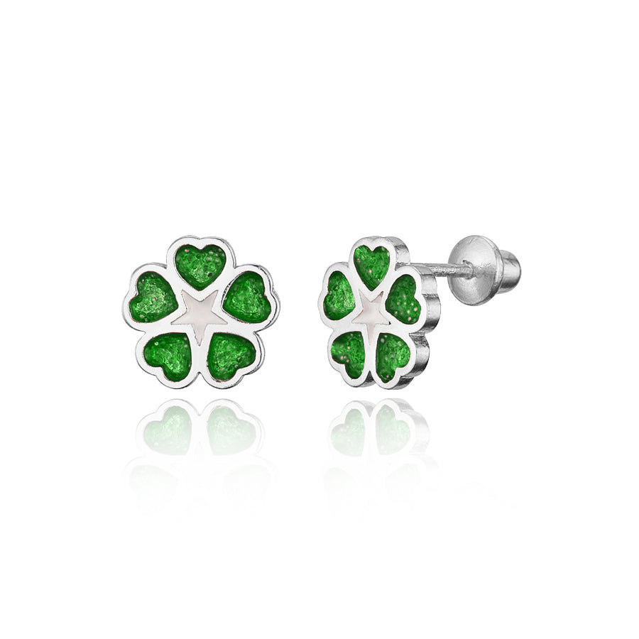 925 Sterling Silver Rhodium Plated Enamel Clover Screwback Baby Girls Earrings