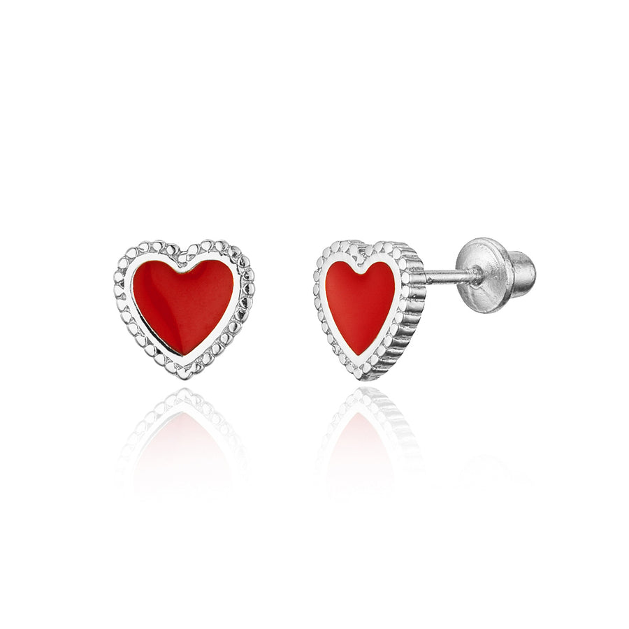 925 Sterling Silver Rhodium Plated Enamel Red Heart Screwback Baby Girl Earrings