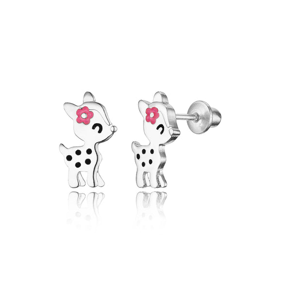 925 Sterling Silver Rhodium Plated Enamel Flower Deer Screwback Baby Girls Earrings