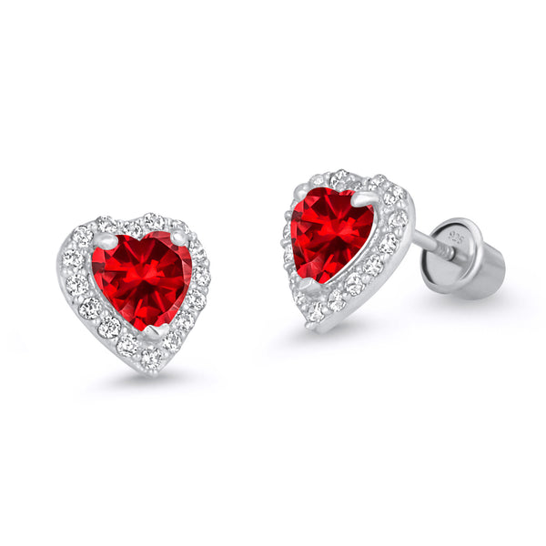 925 Sterling Silver Rhodium Plated Birth Heart CZ Screwback Baby Girls Earrings
