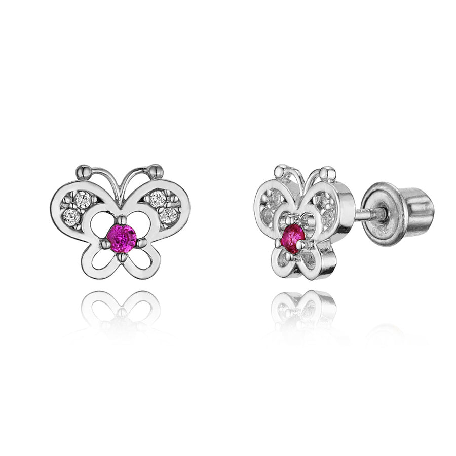 925 Sterling Silver Rhodium Plated Red Butterfly CZ Screwback Baby Girl Earrings