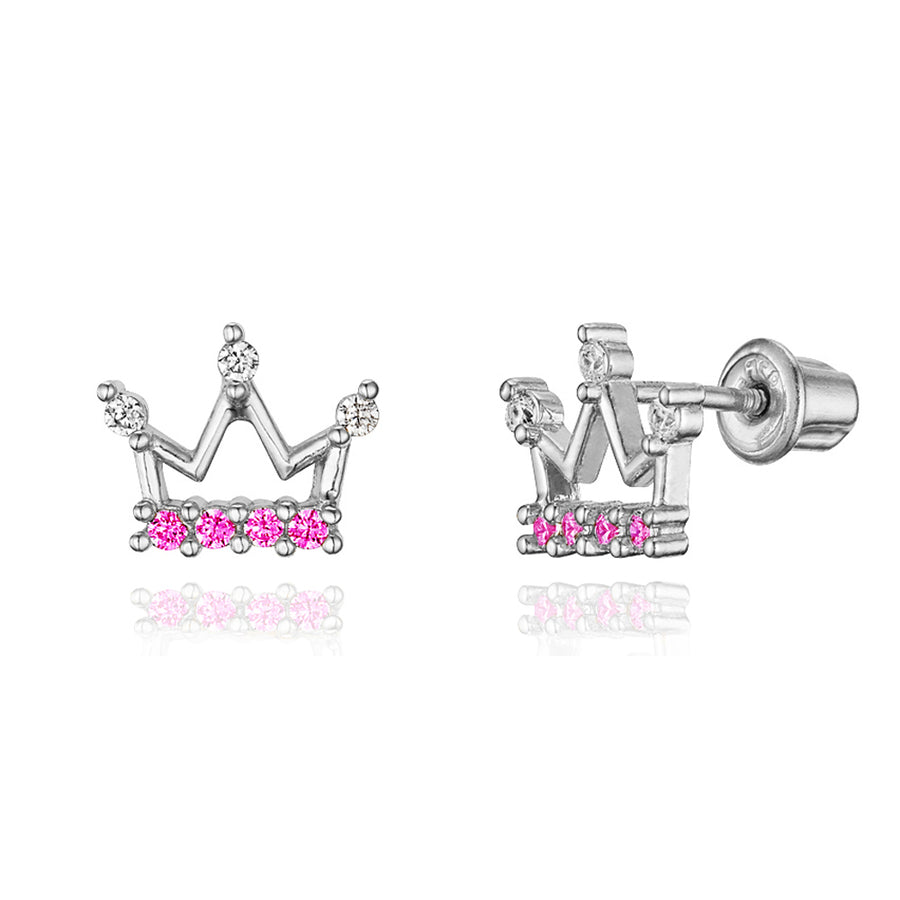 925 Sterling Silver Rhodium Plated Princess Crown CZ Screwback Baby Girl Earring