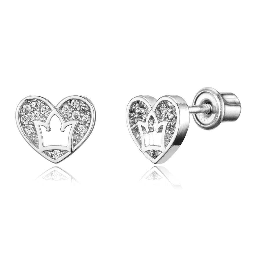 925 Sterling Silver Rhodium Plated CZ Heart Crown Screwback Baby Girls Earrings