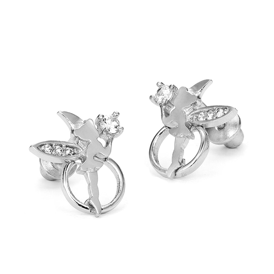 925 Sterling Silver Rhodium Plated Fairy CZ Screwback Baby Girls Earrings