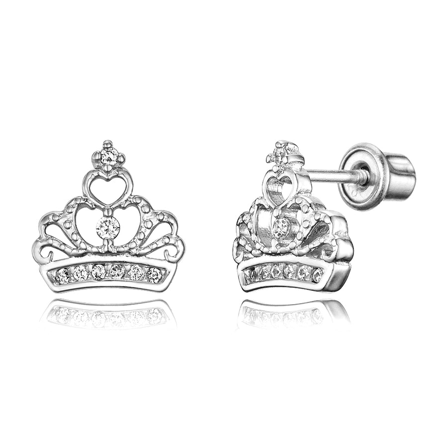 925 Sterling Silver Rhodium Plated CZ Princess Crown Screwback Baby Girl Earring