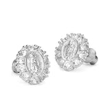 925 Sterling Silver Rhodium Plated Guadalupe CZ Screwback Baby Girls Earrings