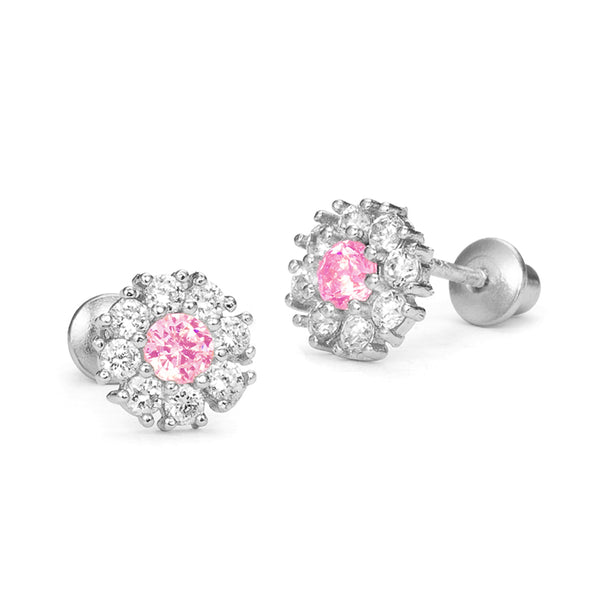 Sterling Silver Rhodium Plated Round Pink Clustered Flower Screwback Girls Earrings