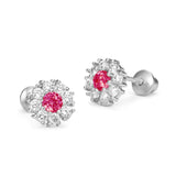 Sterling Silver Rhodium Plated Red Round Clustered Flower Screwback Girls Earrings