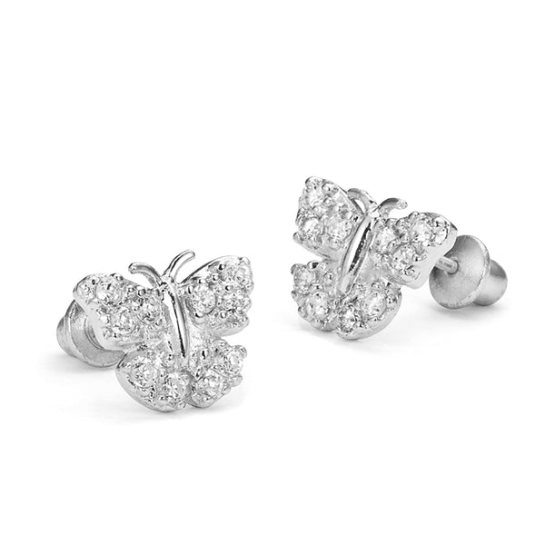 Sterling Silver Rhodium Plated Butterfly Screwback Girls Earrings