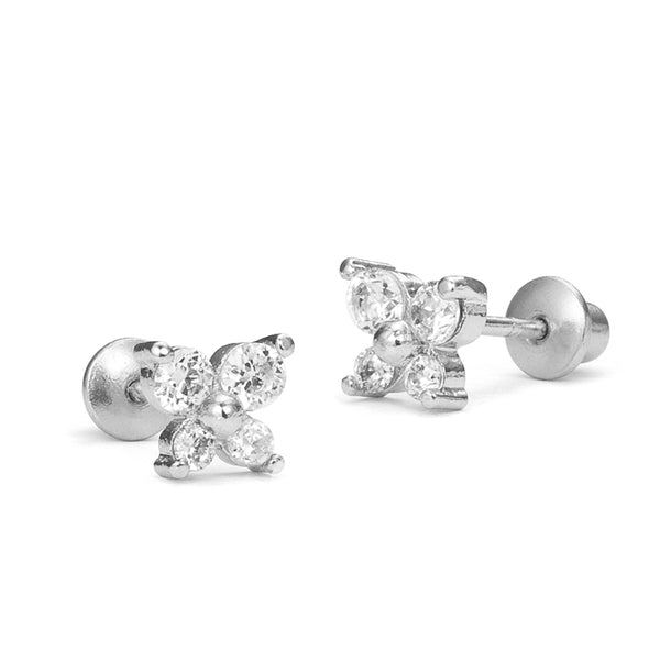 Sterling Silver Rhodium Plated CZ Butterfly Screwback Girls Earrings