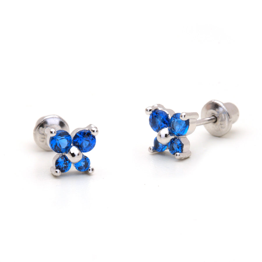 925 Sterling Silver Rhodium Plated Butterfly CZ Screwback Baby Girls Earrings
